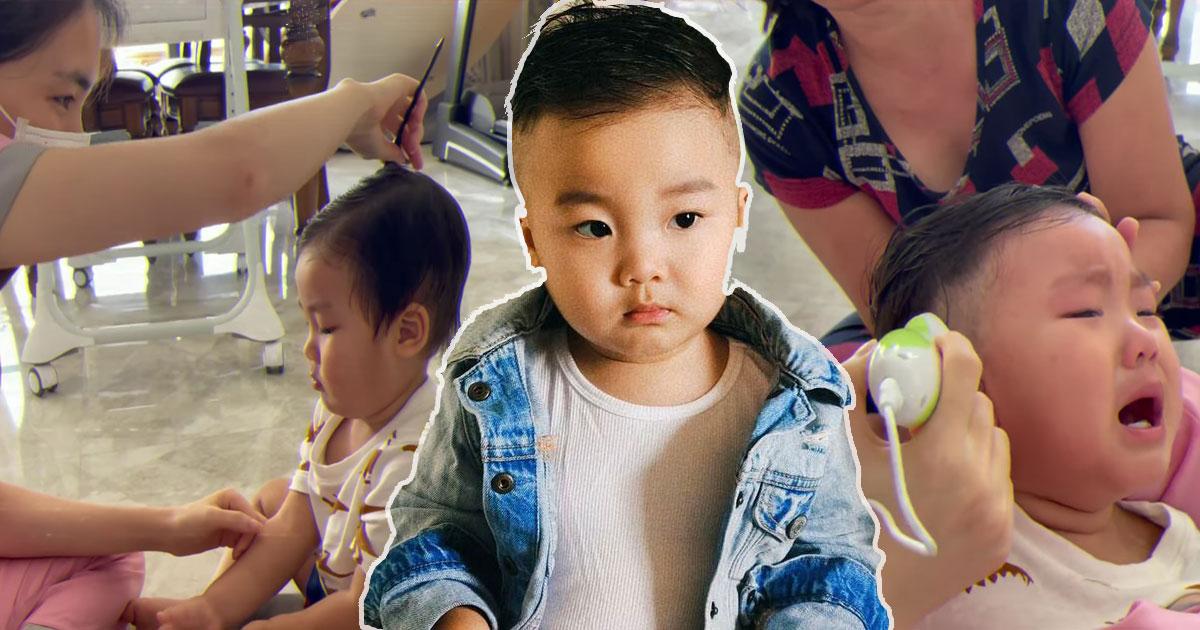 """Con trai Hòa Minzy quyết """"làm đàn ông để bảo vệ mẹ"""" nhưng lại """"khóc um"""" khi cắt tóc tại nhà"""