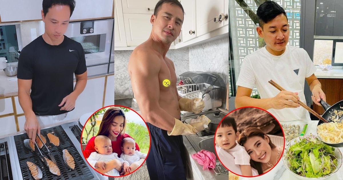 Dàn soái ca màn ảnh làm bếp, phụ vợ: Lương Thế Thành hí hoáy rửa bát, Kim Lý 1 mình chăm 2 con