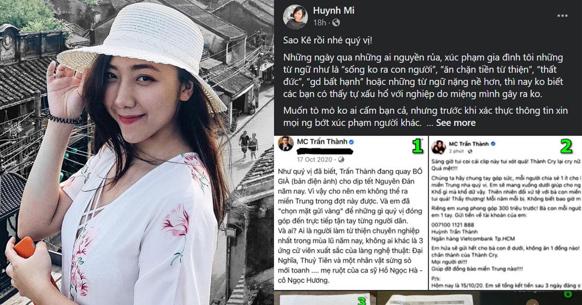 """Em gái Trấn Thành """"cà khịa"""" netizen vì vấn đề đọc hiểu giữa lúc anh trai sao kê tiền từ thiện"""
