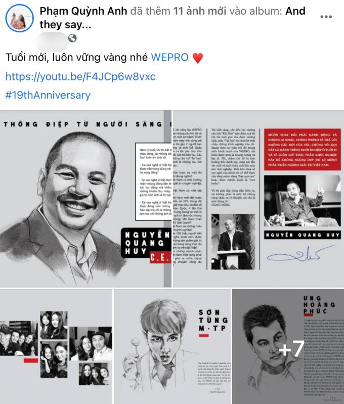 Phạm Quỳnh Anh đăng ảnh chồng cũ Quang Huy cùng dàn sao V-Pop mừng mái nhà Wepro bước sang tuổi 19