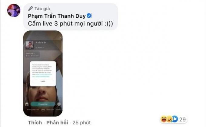 Dở khóc dở cười với lý do khiến Thanh Duy bị cấm livestream trên mạng xã hội