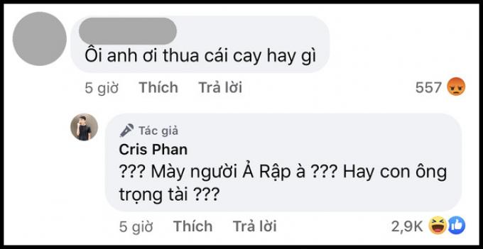 Cris Phan lên tiếng xin lỗi vì phát ngôn quá khích với fan sau trận Việt Nam: Mày là người Ả Rập à?