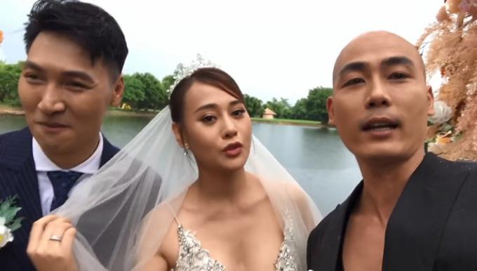 Khánh trọc chụp hình tình tứ với Nam, còn khịa nhẹ: Long có ghen không?