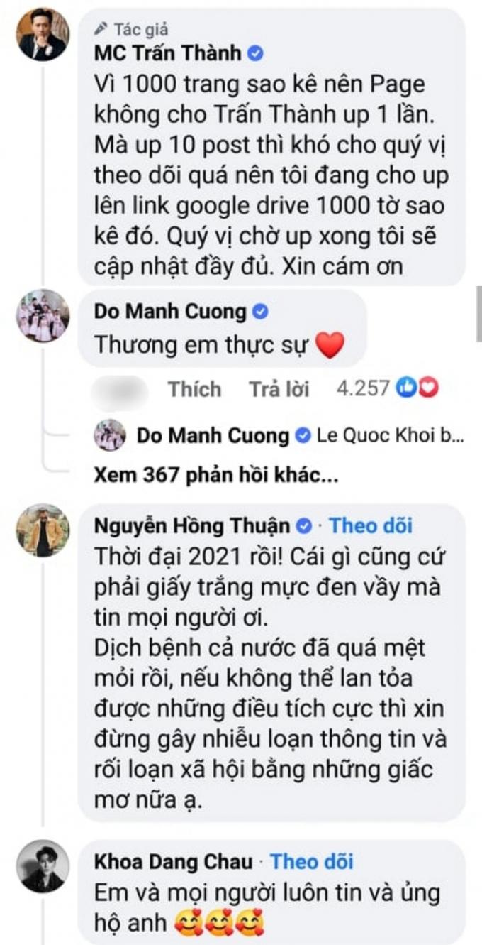 Dàn sao Việt tâm đắc với bản sao kê, nể phục Trấn Thành bỏ 700 tiền túi làm từ thiện không kể lể