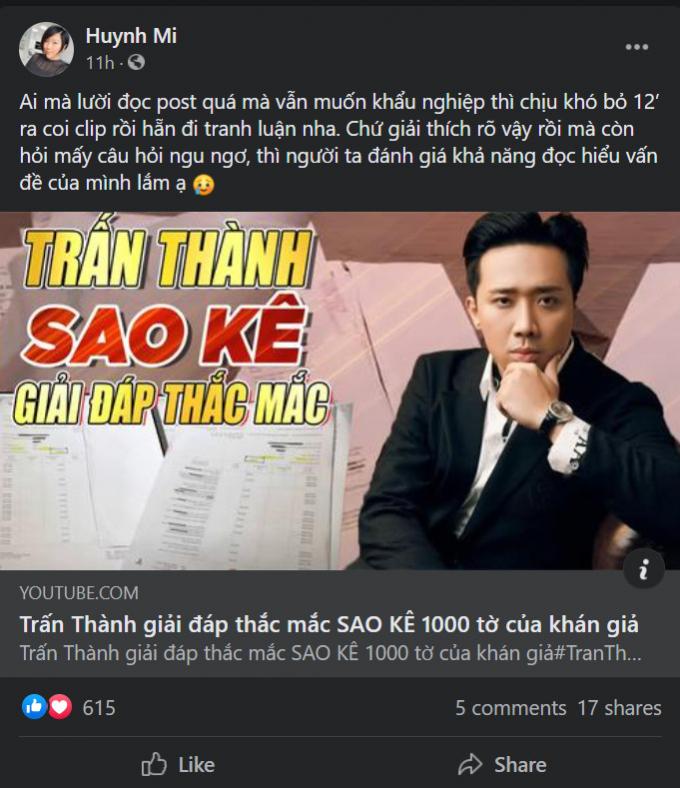 Em gái Trấn Thành cà khịa netizen vì vấn đề đọc hiểu giữa lúc anh trai sao kê tiền từ thiện
