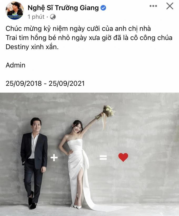 Kỷ niệm 3 năm ngày cưới, Nhã Phương khoe ảnh ngọt ngào với Trường Giang kèm lời khen nịnh chồng