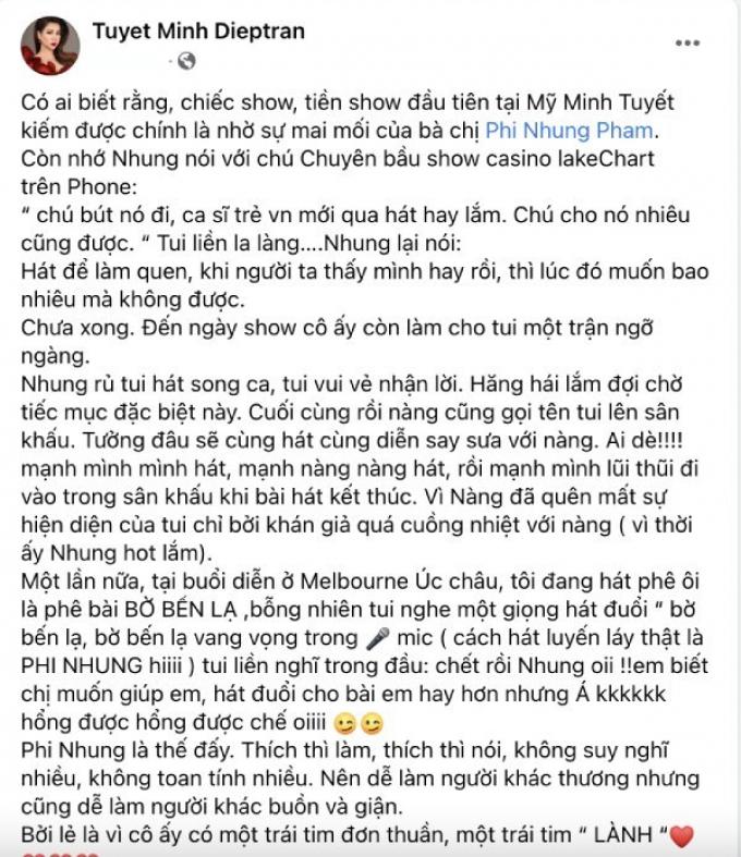 Minh Tuyết nhớ ơn Phi Nhung nâng đỡ kiếm tiền ở Mỹ, nhẹ nhàng đáp trả khi anti-fan chê đạo đức giả