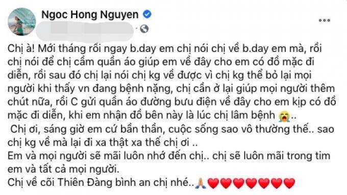 Vợ cố NS Chí Tài, Hồng Ngọc thương nhớ Phi Nhung tốt bụng, hết lòng giúp đỡ, tặng quà cho đồng nghiệp