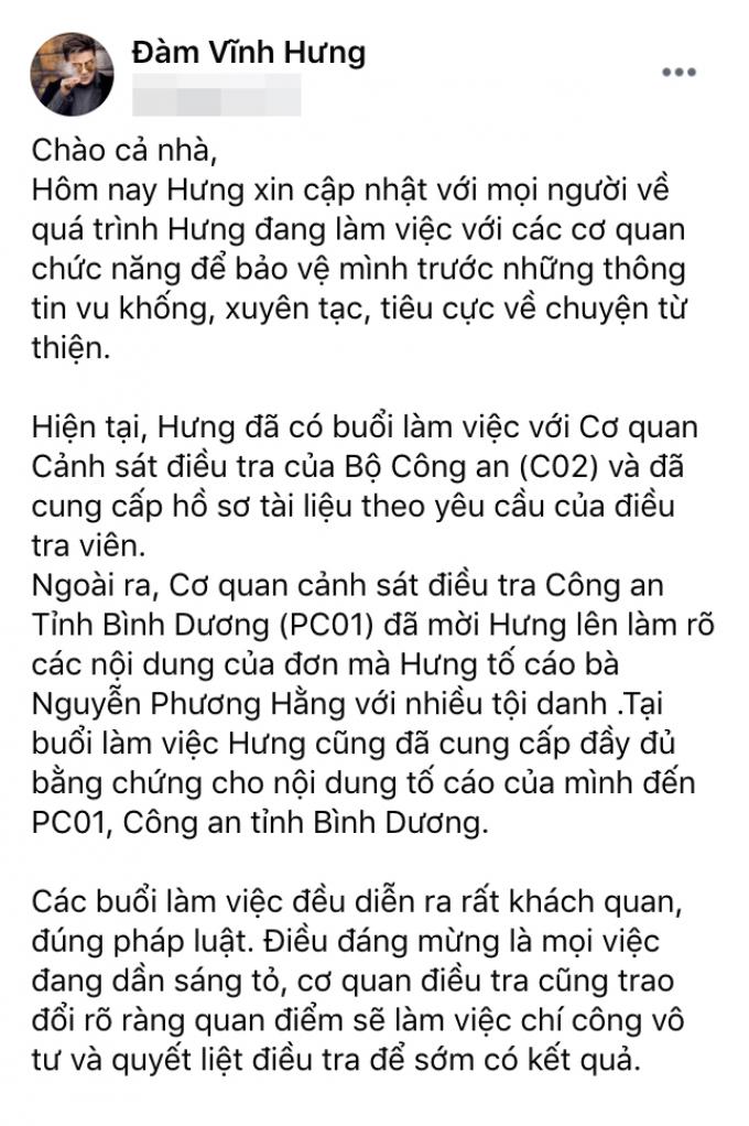 Đàm Vĩnh Hưng làm việc với cơ quan điều tra, có tín hiệu đáng mừng trong quá trình tố cáo bà Phương Hằng