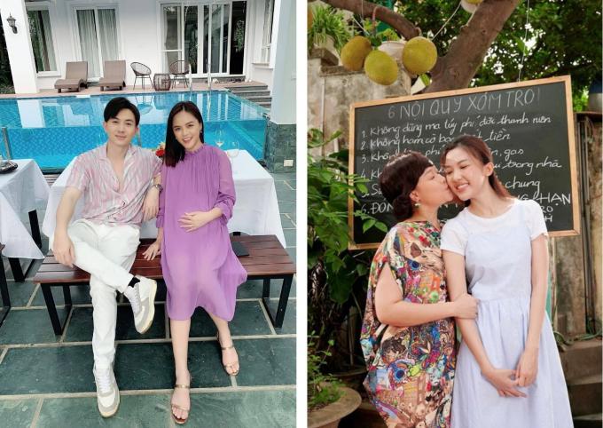 Soi tính cách qua gu váy bầu của Thu Quỳnh và Lương Thanh