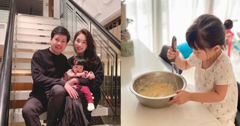 Con gái 3 tuổi của hoa hậu Đặng Thu Thảo giúp mẹ làm việc nhà